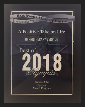 2018 Recipient of the Best of Olympia Award for Hypnotherapy